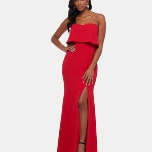 XSCAPE Strapless Popover Evening Gown Red